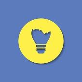 Broken light bulb vector flat icon