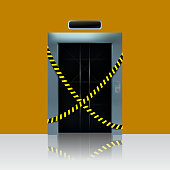Broken out of order elevator. Vector illustration of elevator shaft with caution ribbon.