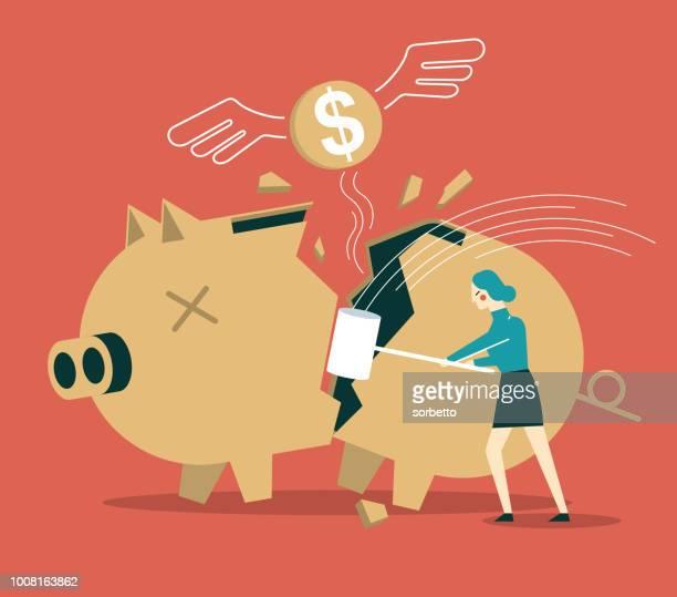 broken piggy bank - businesswoman - relief emotion stock illustrations, clip art, cartoons, & icons