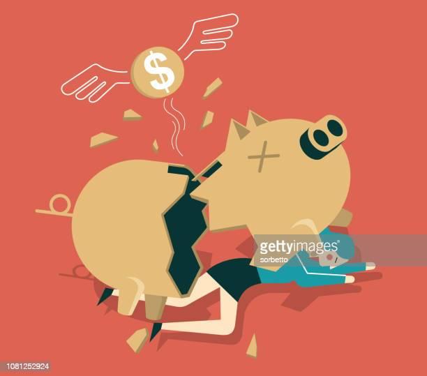broken piggy bank - businesswoman - disaster relief stock illustrations, clip art, cartoons, & icons
