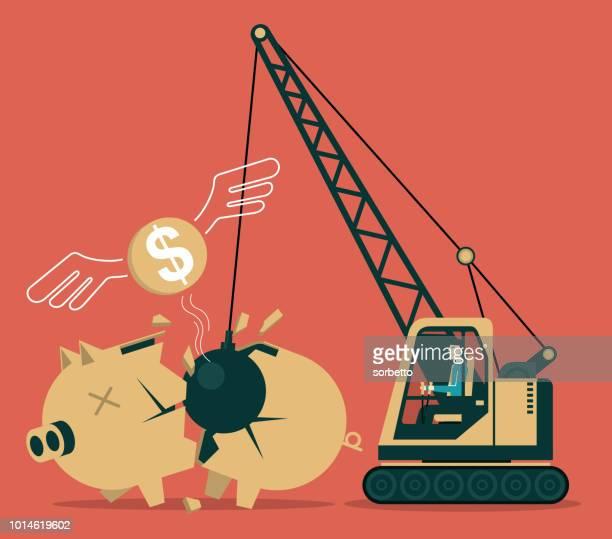 stockillustraties, clipart, cartoons en iconen met gebroken piggy bank - budget
