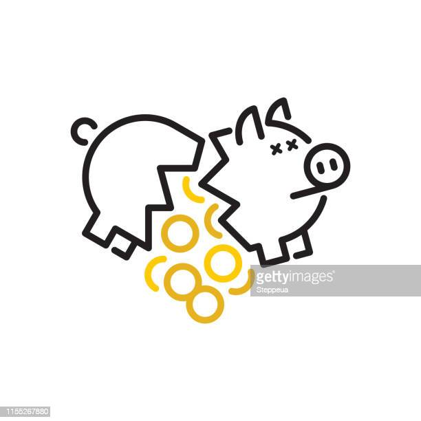 broken piggy bank - broken stock illustrations