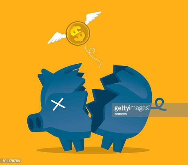 ilustrações, clipart, desenhos animados e ícones de broken piggy bank - relief emotion