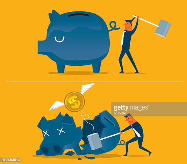 broken piggy bank - disaster relief stock illustrations, clip art, cartoons, & icons
