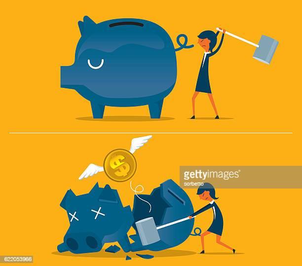 broken piggy bank - relief emotion stock illustrations, clip art, cartoons, & icons