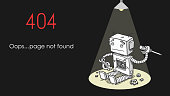 Broken Robot 404 Page Not Found Error