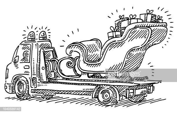 Broken Santa Sleigh On Tow Truck Drawing