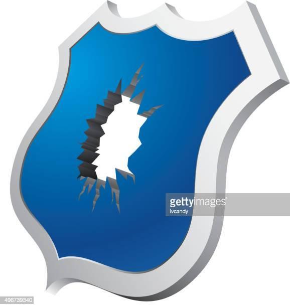 broken shield - broken stock illustrations, clip art, cartoons, & icons