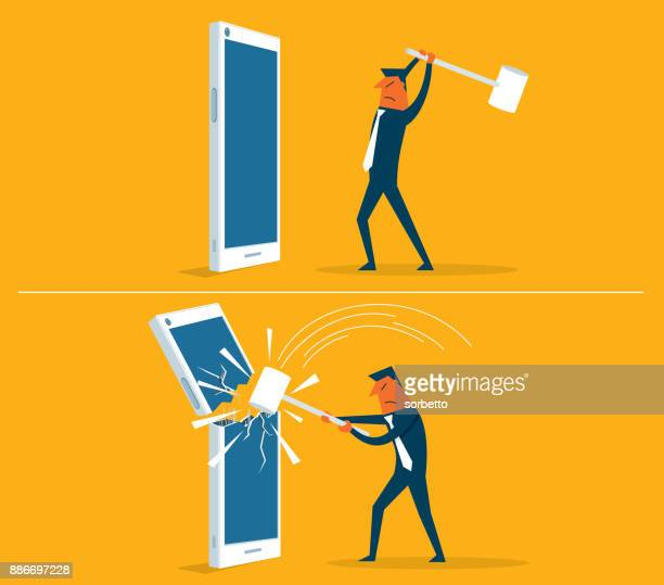 broken smart phone - businessman - broken stock illustrations, clip art, cartoons, & icons