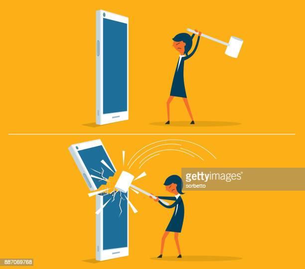 ilustrações de stock, clip art, desenhos animados e ícones de broken smart phone - businesswoman - proibido celular