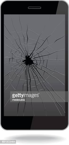 broken smart phone - cracked stock illustrations