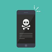 Broken smartphone. Malware notification on smartphone. Reporting a virus, malicious application, spam or hacking a mobile phone. Internet connection error, security risk. Flat vector illustration.