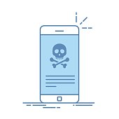 Broken smartphone. Malware notification on smartphone. Reporting virus, malicious application, spam, hacking mobile phone. Internet connection error, security risk. Thin line flat vector illustration.
