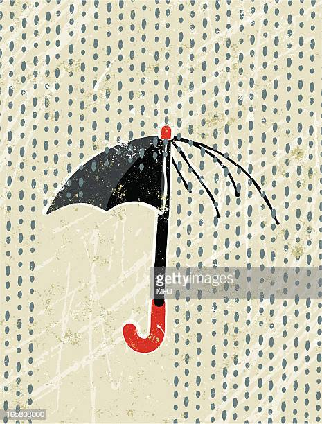 broken umbrella and rain - silk screen stock illustrations