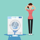 Broken washing machine and sad woman with her. Vector illustration.