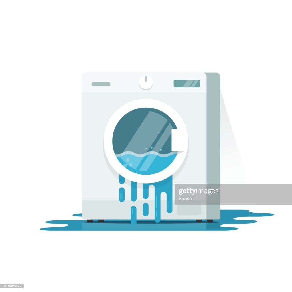 Broken washing machine vector illustration, flat cartoon damaged washer with flowing water on floor need repair isolated