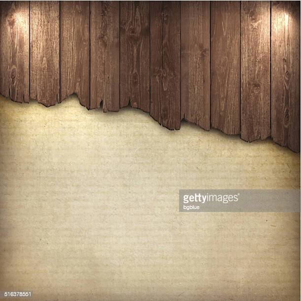 broken wood board on grungy background - wood material stock illustrations