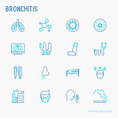 Bronchitis thin line icons set of symptoms and treatments: headache, alveolus, inhaler, nebulizer, stethoscope, thermometer, x-ray, bed rest. Vector illustration.