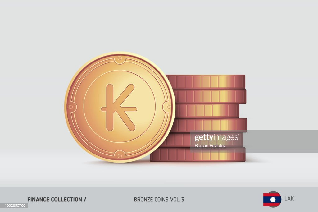 Bronze coins. Realistic Lao Kip coin standing near of stacked coins. Finance concept for websites, web design, mobile app, infographics.