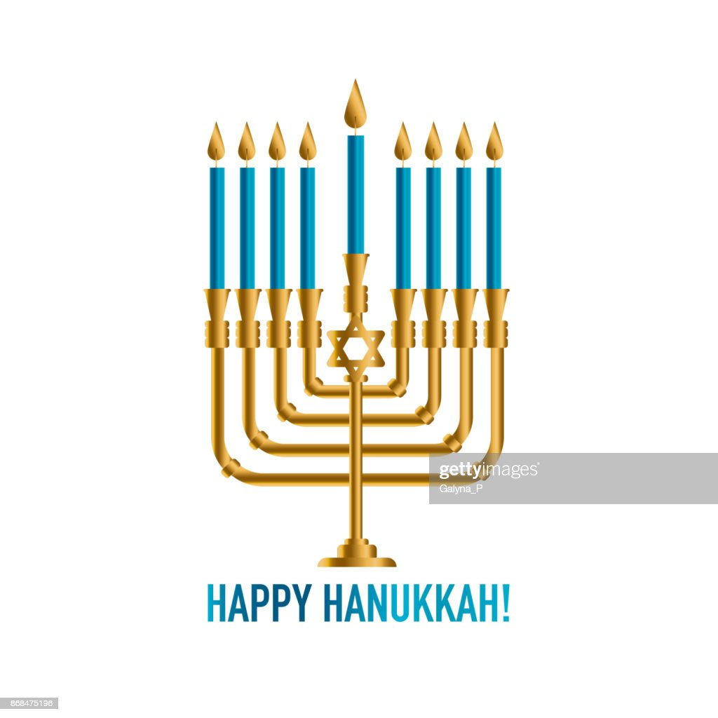 Bronze Hanukkah Menorah With Burning Candles Holiday Greeting Card
