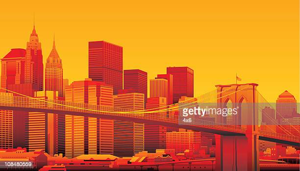 brooklyn bridge and manhattan, new york city. - brooklyn bridge stock illustrations, clip art, cartoons, & icons