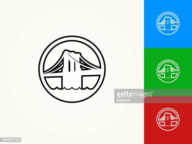 ilustraciones, imágenes clip art, dibujos animados e iconos de stock de puente de brooklyn negro trazo lineal icono - puente colgante