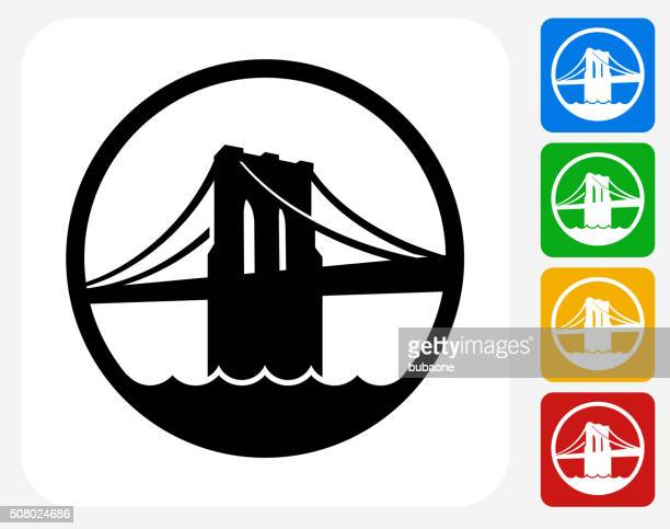 brooklyn bridge icon flat graphic design - brooklyn bridge stock illustrations, clip art, cartoons, & icons