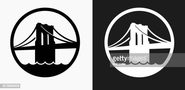 brooklyn bridge icon on black and white vector backgrounds - brooklyn bridge stock illustrations, clip art, cartoons, & icons
