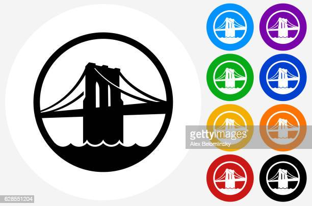 brooklyn bridge icon on flat color circle buttons - brooklyn bridge stock illustrations, clip art, cartoons, & icons