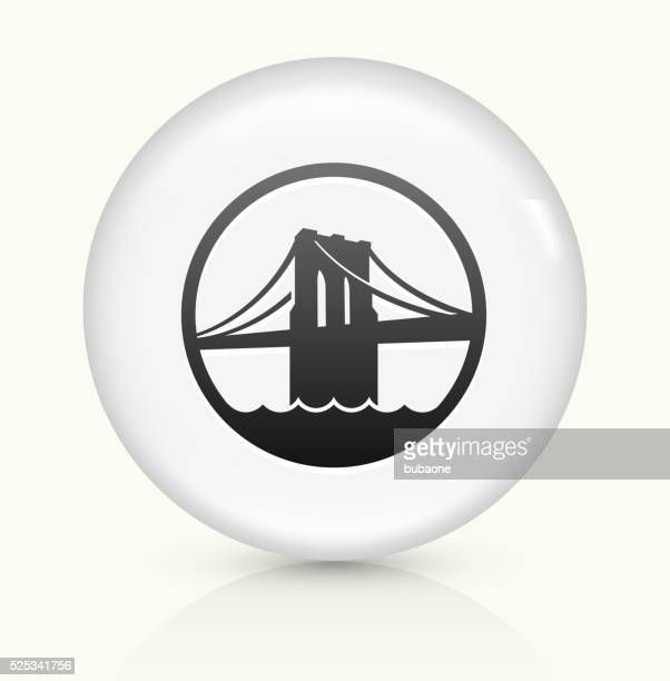 brooklyn bridge icon on white round vector button - brooklyn bridge stock illustrations, clip art, cartoons, & icons