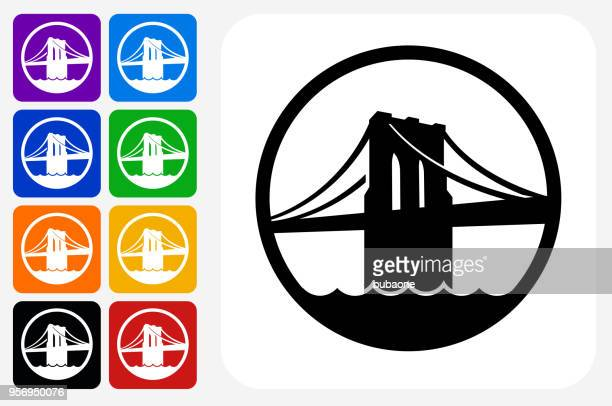 brooklyn bridge icon square button set - brooklyn bridge stock illustrations, clip art, cartoons, & icons