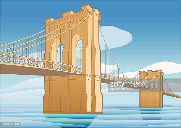 brooklyn bridge, new york city - brooklyn bridge stock illustrations, clip art, cartoons, & icons