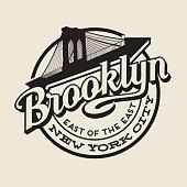 Brooklyn, New York City t-shirt or print typography design.