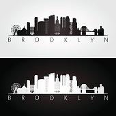 Brooklyn, New York city, USA skyline and landmarks silhouette, black and white design, vector illustration.