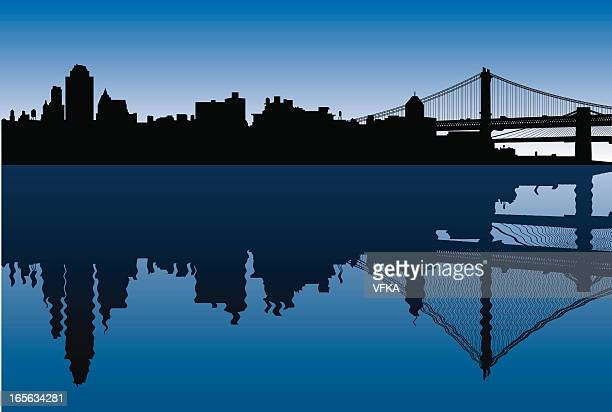 brooklyn skyline + reflection - brooklyn bridge stock illustrations, clip art, cartoons, & icons