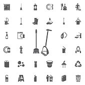 Broom and dustpan icon isolated.