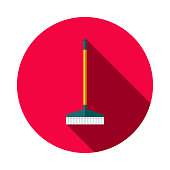 Broom Flat Design Cleaning Icon with Side Shadow
