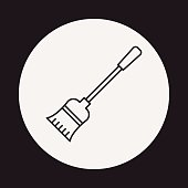 broom line icon
