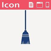 Broom vector flat icon