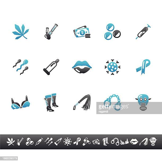 brothel icons | blue grey - sexual fetish stock illustrations, clip art, cartoons, & icons