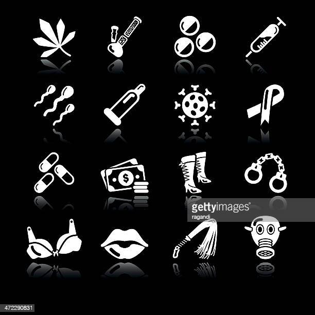 brothel icons | simple white - bong stock illustrations, clip art, cartoons, & icons