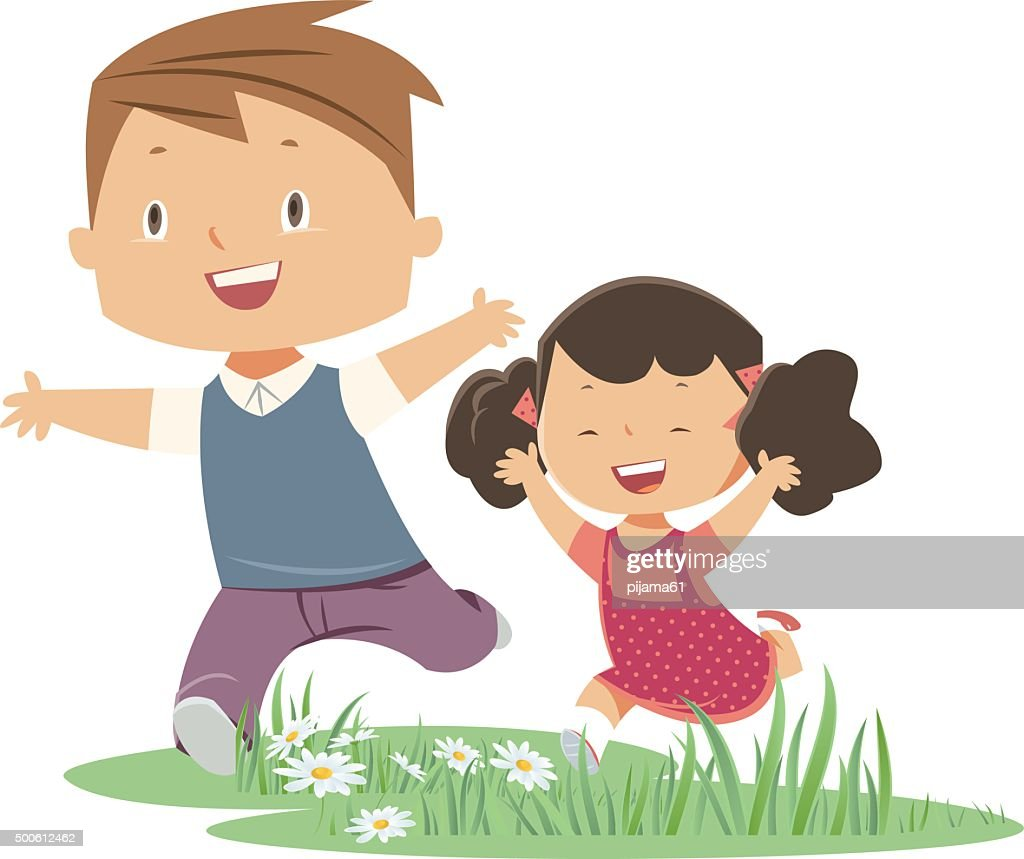 Picture For Brother Sister: Brother And Sister Vector Art