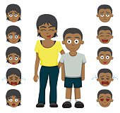 Brother sister emotion faces cartoon vector illustration