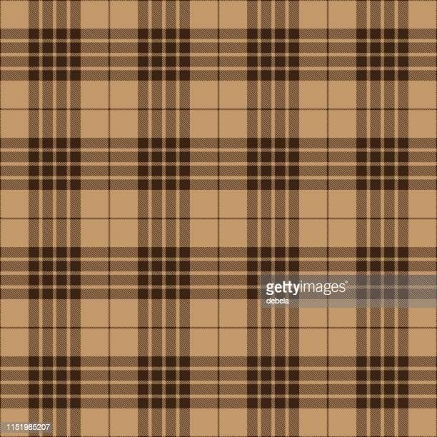 brown and beige scottish tartan plaid textile pattern - tartan stock illustrations