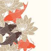 Brown and orange illustration of koi carp and water lilies