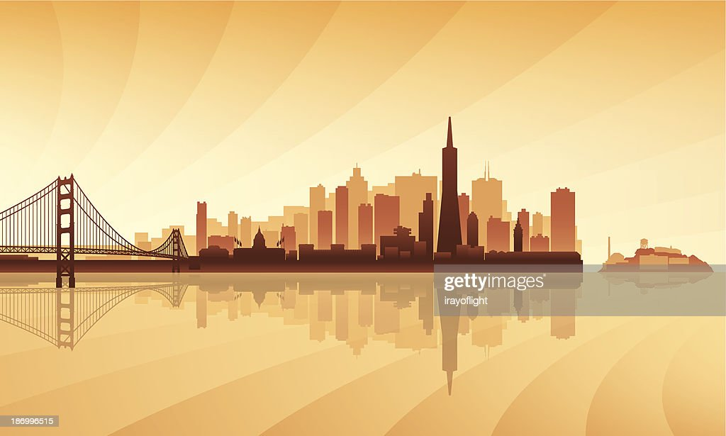 Brown and orange toned silhouette of San Francisco skyline