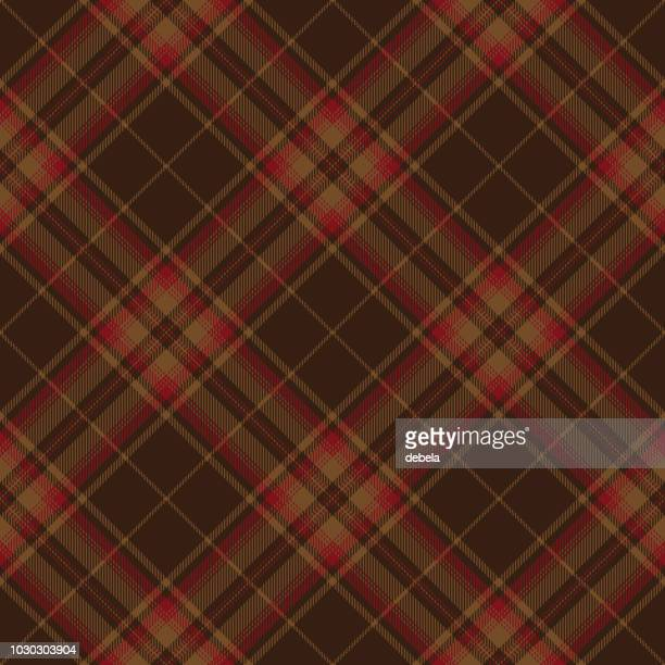 brown and red scottish tartan plaid textile pattern - brown stock illustrations