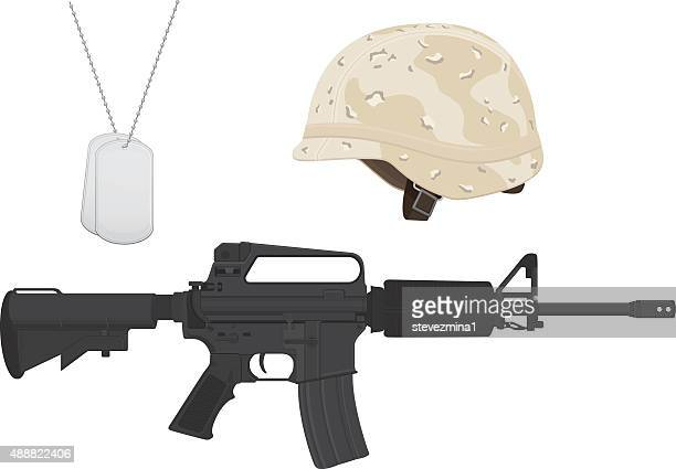 brown and tan camouflage military helmet, machine gun, dog tags - us marine corps stock illustrations, clip art, cartoons, & icons