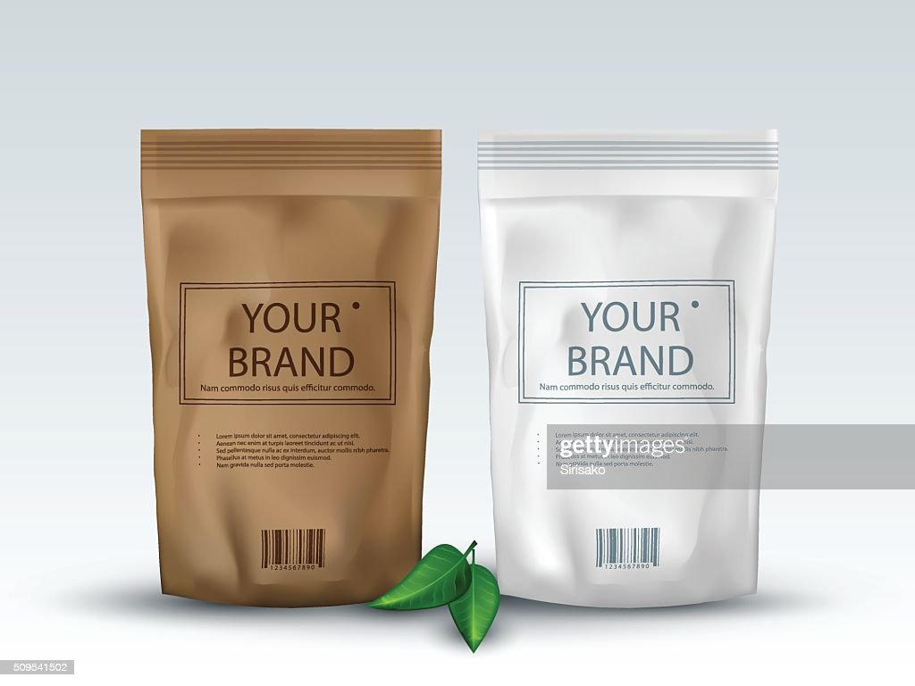 Brown and White Blank Foil Food Or Drink ,Bag Packaging