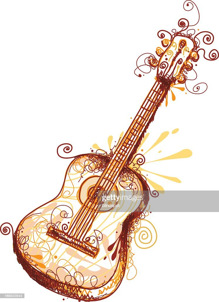 Brown and yellow illustration of a guitar with curly lines